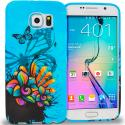 Samsung Galaxy S6 Butterfly Flower on Blue TPU Design Soft Rubber Case Cover Angle 1
