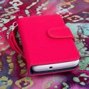Huawei Valiant - Hot Pink MPERO FLEX FLIP Wallet Case Cover Angle 2