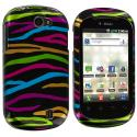 LG DoublePlay C729 / Flip II Rainbow Zebra on Black Design Crystal Hard Case Cover Angle 1