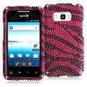 LG Optimus Elite LS696 Black / Hot Pink Zebra Bling Rhinestone Case Cover Angle 1