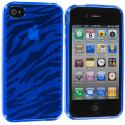 Apple iPhone 4 / 4S Baby Blue Zebra TPU Rubber Skin Case Cover Angle 2