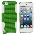 Apple iPod Touch 5th 6th Generation White / Green Hybrid Mesh Hard/Soft Case Cover Angle 1