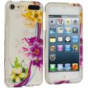 Apple iPod Touch 5th 6th Generation Purple Flower Chain Hard Rubberized Design Case Cover Angle 1