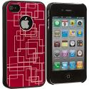 Apple iPhone 4 / 4S Red Metal Grid Aluminum Metal Hard Case Cover Angle 2