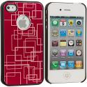 Apple iPhone 4 / 4S Red Metal Grid Aluminum Metal Hard Case Cover Angle 3