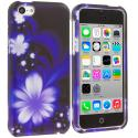 Apple iPhone 5C Blue Lotus on Black Hard Rubberized Design Case Cover Angle 1