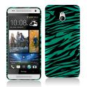 HTC One Mini Black/Baby Blue Zebra Hard Rubberized Design Case Cover Angle 1