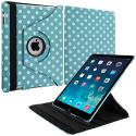 Apple iPad Mini Baby Blue White Polka Dot 360 Rotating Case Cover Pouch Stand Angle 2