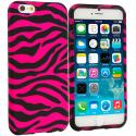 Apple iPhone 6 Plus 6S Plus (5.5) Black / Hot Pink Zebra TPU Design Soft Rubber Case Cover Angle 1