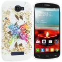 Alcatel One Touch Fierce 2 7040T Colorful Butterfly TPU Design Soft Rubber Case Cover Angle 1
