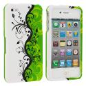 Apple iPhone 4 / 4S Green Swirl Hard Rubberized Design Case Cover Angle 1