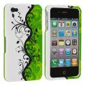 Apple iPhone 4 / 4S Green Swirl Hard Rubberized Design Case Cover Angle 2