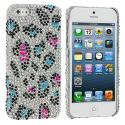 Apple iPhone 5/5S/SE Colorful Leopard Bling Rhinestone Case Cover Angle 1