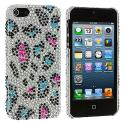 Apple iPhone 5/5S/SE Colorful Leopard Bling Rhinestone Case Cover Angle 2