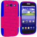 Samsung Galaxy S3 Blue / Hot Pink Hybrid Mesh Hard/Soft Case Cover Angle 2
