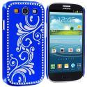 Samsung Galaxy S3 Blue Diamond Luxury Flower Case Cover Angle 2