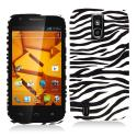 ZTE Force N9100 Black / White Zebra Hard Rubberized Design Case Cover Angle 1