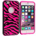 Apple iPhone 6 6S (4.7) Black / Hot Pink Hybrid Zebra Hard/Soft Case Cover Angle 1