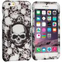 Apple iPhone 6 Plus 6S Plus (5.5) Black White Skulls 2D Hard Rubberized Design Case Cover Angle 1