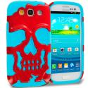 Samsung Galaxy S3 Baby blue / Red Hybrid Skull Hard/Soft Case Cover Angle 1