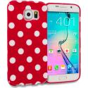 Samsung Galaxy S6 Edge Red / White TPU Polka Dot Skin Case Cover Angle 2