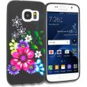 Samsung Galaxy S7 Flowers on Black TPU Design Soft Rubber Case Cover Angle 1