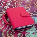 BlackBerry Q5 - Hot Pink MPERO FLEX FLIP Wallet Case Cover Angle 2