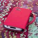 BlackBerry Q5 - Hot Pink MPERO FLEX FLIP Wallet Case Cover Angle 3