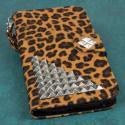 LG G Pro 2 - Studded Leopard MPERO FLEX FLIP Wallet Case Cover Angle 2