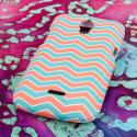 Huawei Vitria - Mint Chevron MPERO SNAPZ - Rubberized Case Cover Angle 3