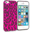 Apple iPhone 5/5S/SE Hot Pink Leopard TPU Design Soft Rubber Case Cover Angle 1