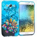 Samsung Galaxy E5 S978L Blue Butterfly Flower TPU Design Soft Rubber Case Cover Angle 1