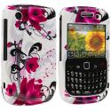 BlackBerry Curve 8520 8530 3G 9300 9330 Red Flowers Design Crystal Hard Case Cover Angle 1