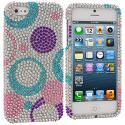 Apple iPhone 5/5S/SE Circles Purple n Silver Bling Rhinestone Case Cover Angle 1
