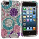 Apple iPhone 5/5S/SE Circles Purple n Silver Bling Rhinestone Case Cover Angle 2