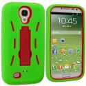 Samsung Galaxy S4 Neon Green / Red Hybrid Heavy Duty Hard/Soft Case Cover with Stand Angle 2