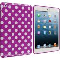 Apple iPad Mini Purple / White TPU Polka Dot Skin Case Cover Angle 1