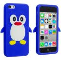 Apple iPhone 5C Blue Penguin Silicone Design Soft Skin Case Cover Angle 1
