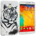 Samsung Galaxy Note 3 N9000 White Tiger TPU Design Soft Case Cover Angle 1