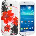 Samsung Galaxy S4 Mini i9190 Red Flower TPU Design Soft Case Cover Angle 1