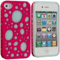 Apple iPhone 4 / 4S Pink / Blue Hybrid Bubble Hard/Soft Skin Case Cover Angle 1