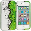 Apple iPhone 4 / 4S Green / White Swirl2D Hard Rubberized Design Case Cover Angle 1