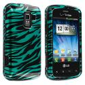 LG Enlighten VS700 Black / Baby Blue Zebra Design Crystal Hard Case Cover Angle 1