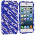 Apple iPhone 5/5S/SE Blue / Silver Zebra Bling Rhinestone Case Cover Angle 1