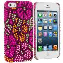 Apple iPhone 5/5S/SE Hot Pink Hawaii Flower Bling Rhinestone Case Cover Angle 1