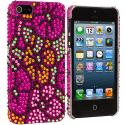 Apple iPhone 5/5S/SE Hot Pink Hawaii Flower Bling Rhinestone Case Cover Angle 2