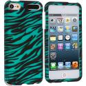 Apple iPod Touch 5th 6th Generation Black / Baby Blue Zebra Hard Rubberized Design Case Cover Angle 1