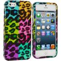 Apple iPhone 5/5S/SE Splicing Grid Leopard Hard Rubberized Design Case Cover Angle 1