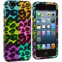 Apple iPhone 5/5S/SE Splicing Grid Leopard Hard Rubberized Design Case Cover Angle 2