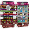 Apple iPhone 4 / 4S White Tribal Hybrid Tuff Hard/Soft 3-Piece Case Cover Angle 1